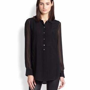 VINCE Long Tuxedo Blouse. Sheer Sleeves & Sides